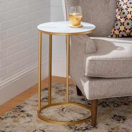 Pending - Walker Edison Faux White Marble/Gold Modern Round End Table - Available in 2 Colours