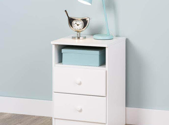Prepac Astrid 2-Drawer Nightstand with Acrylic Knobs in White