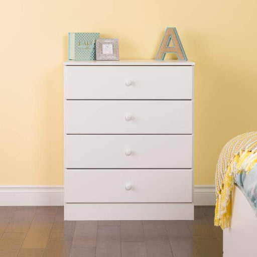 Prepac Astrid 4-Drawer Dresser with Acrylic Knobs, White