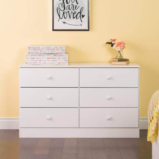 Prepac Astrid 6-Drawer Dresser with Acrylic Knobs, White