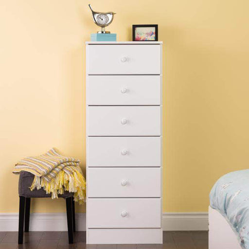 Prepac Astrid 6-Drawer Tall Chest with Acrylic Knobs, White
