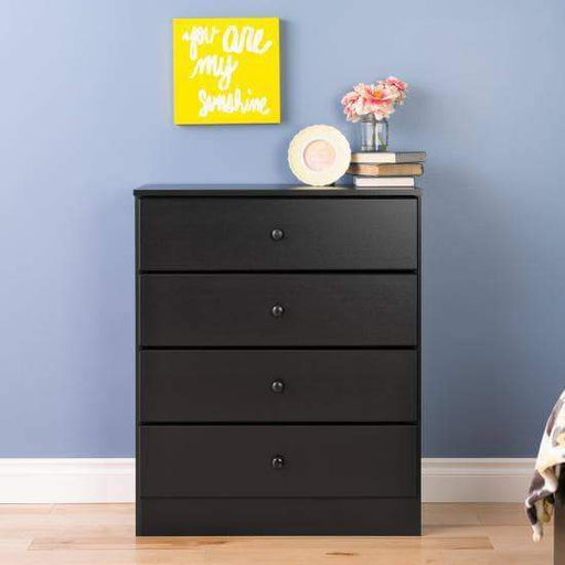 Prepac Astrid Bedroom Collection Black Astrid 4-Drawer Dresser - Multiple Options Available