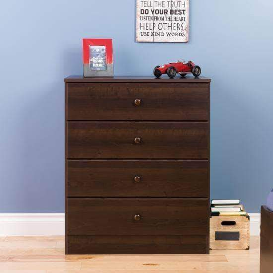 Prepac Astrid Bedroom Collection Espresso Astrid 4-Drawer Dresser - Multiple Options Available