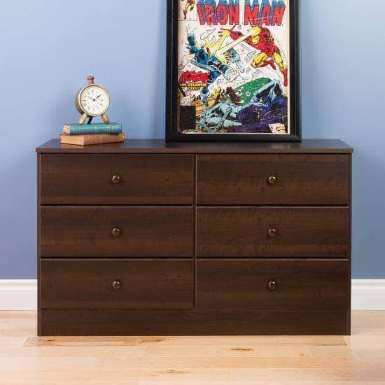 Prepac Astrid Bedroom Collection Espresso Astrid 6-Drawer Dresser - Multiple Options Available