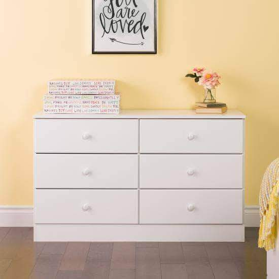 Prepac Astrid Bedroom Collection White Astrid 6-Drawer Dresser - Multiple Options Available