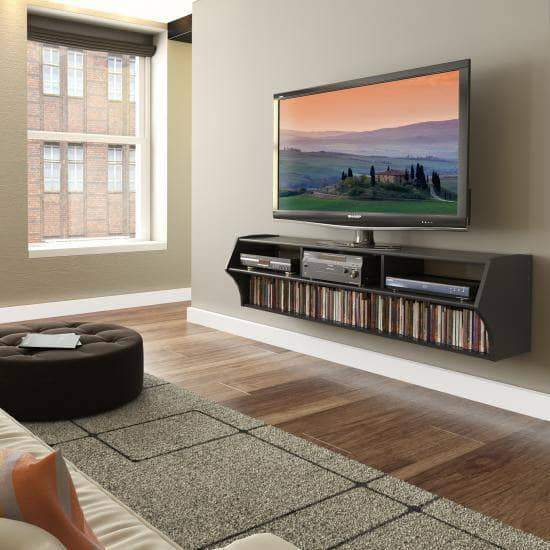 Prepac Audio Video Consoles Black Altus Plus 58 Inch Floating TV Stand - Multiple Options Available