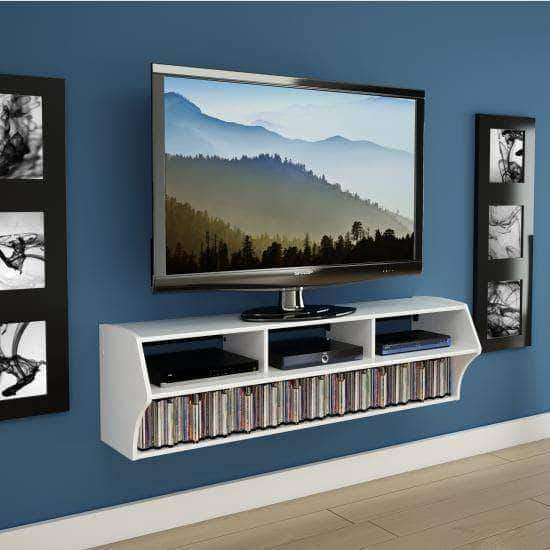 Prepac Audio Video Consoles White Altus Plus 58 Inch Floating TV Stand - Multiple Options Available