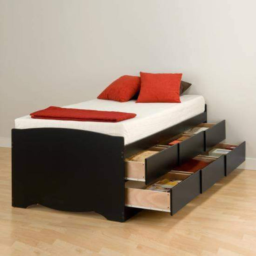 Prepac Bed Black Tall Twin Captain's Platform Storage Bed with 6 Drawers - Multiple Options Available