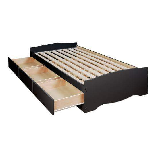Prepac Bed Espresso Twin XL Mate's Platform Storage Bed with Three Drawers - Multiple Options Available