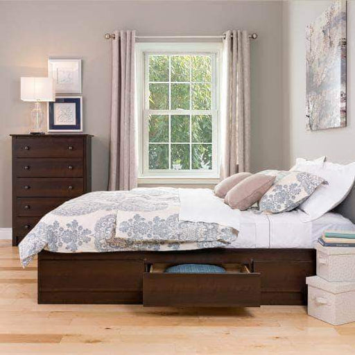Prepac Bed Full / Espresso Mate's Platform Storage Bed with 6 Drawers - Multiple Options Available