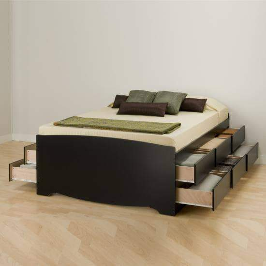 Prepac Bed Queen / Black Tall Captain's Queen Platform Storage Bed with 12 Drawers - Multiple Options Available