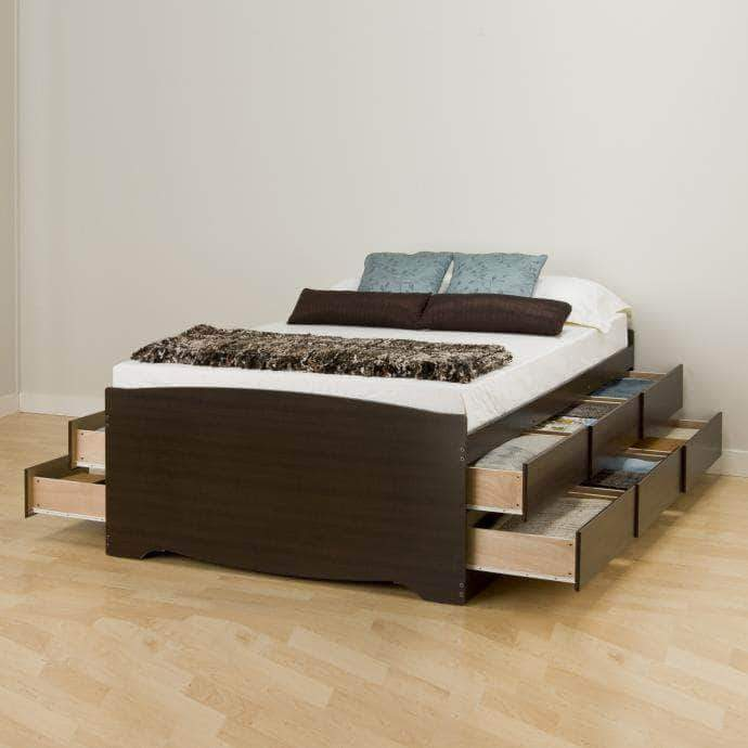Prepac Bed Queen / Espresso Tall Captain's Queen Platform Storage Bed with 12 Drawers - Multiple Options Available