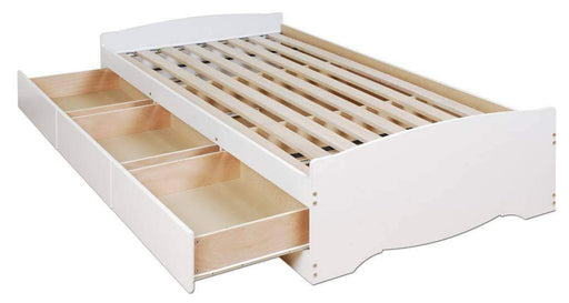 Prepac Bed White Twin Mate's Platform Storage Bed with 3 Drawers - Multiple Options Available
