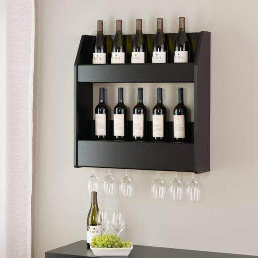 Prepac Black 2-Tier Floating Wine and Liquor Rack - Multiple Options Available