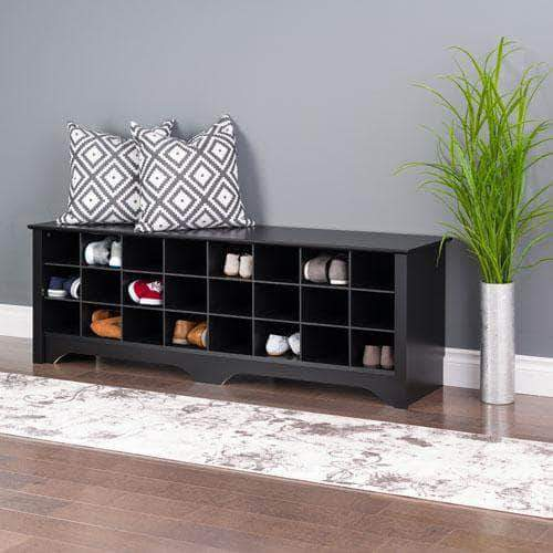 Prepac Black 24 pair Shoe Storage Cubby Bench - Multiple Options Available