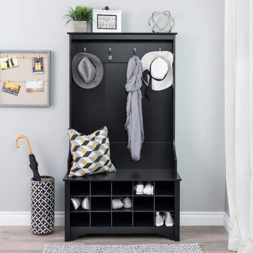 Prepac Black Hall Tree with Shoe Storage - Multiple Options Available