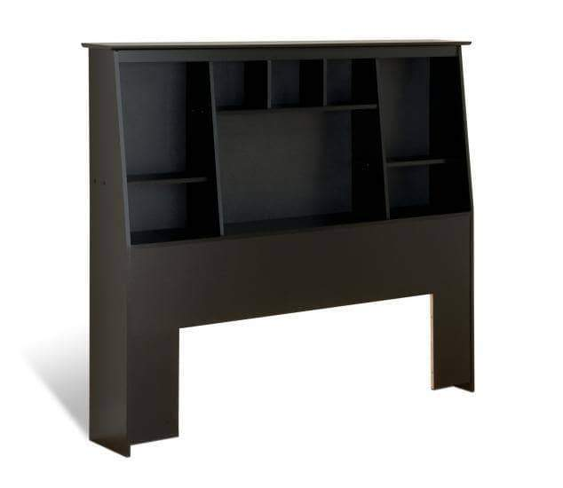Prepac Bookcase Storage Headboards Black Full/Queen Tall Slant-Back Bookcase Headboard - Multiple Options Available