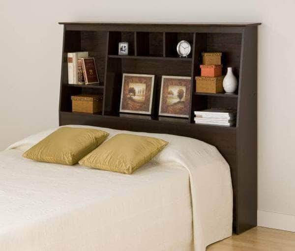 Prepac Bookcase Storage Headboards Espresso Full/Queen Tall Slant-Back Bookcase Headboard - Multiple Options Available