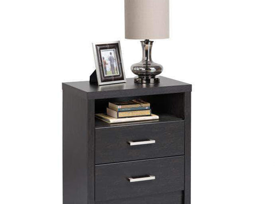 Prepac Calla Bedroom Collection Washed Black Calla Tall 2-Drawer Nightstand - Multiple Options Available
