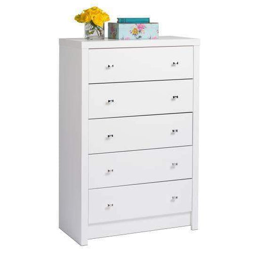 Prepac Calla Bedroom Collection White Calla Five Drawer Chest - Multiple Options Available