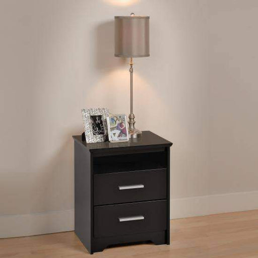 Prepac Coal Harbor Bedroom Black Coal Harbor 2 Drawer Tall Nightstand with Open Shelf - Multiple Options Available