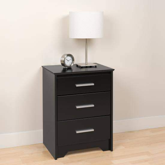 Prepac Coal Harbor Bedroom Black Coal Harbor 3 Drawer Tall Nightstand - Multiple Options Available