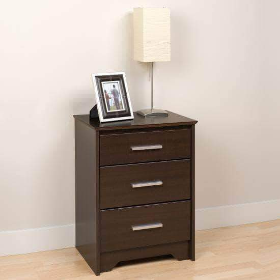 Prepac Coal Harbor Bedroom Espresso Coal Harbor 3 Drawer Tall Nightstand - Multiple Options Available