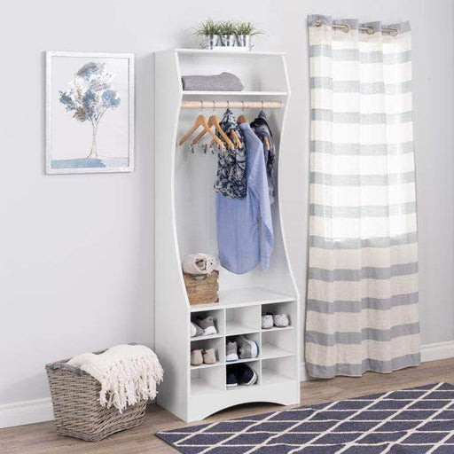 Prepac Compact Wardrobe with Shoe Storage White