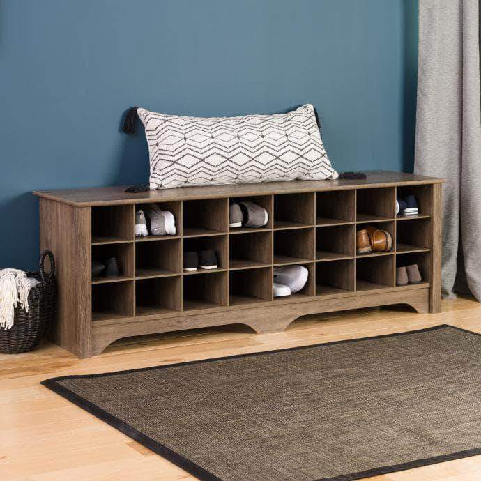 Prepac Drifted Grey 24 pair Shoe Storage Cubby Bench - Multiple Options Available