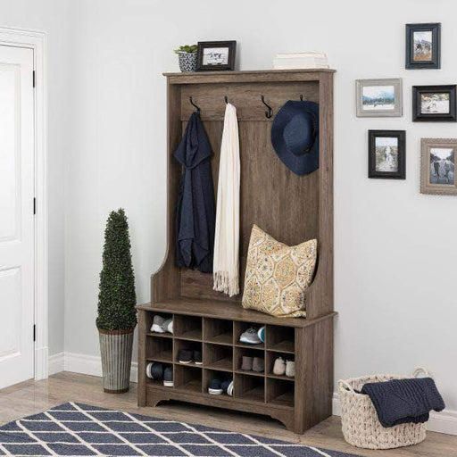 Prepac Drifted Grey Hall Tree with Shoe Storage - Multiple Options Available