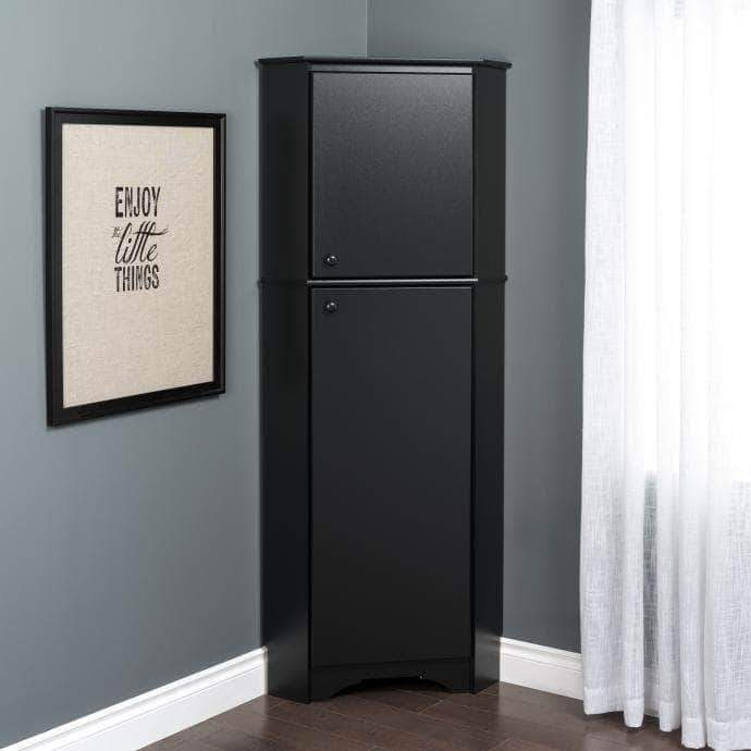 Prepac Elite Home Storage Collection Black Elite Tall Two Door Corner Storage Cabinet - Multiple Options Available