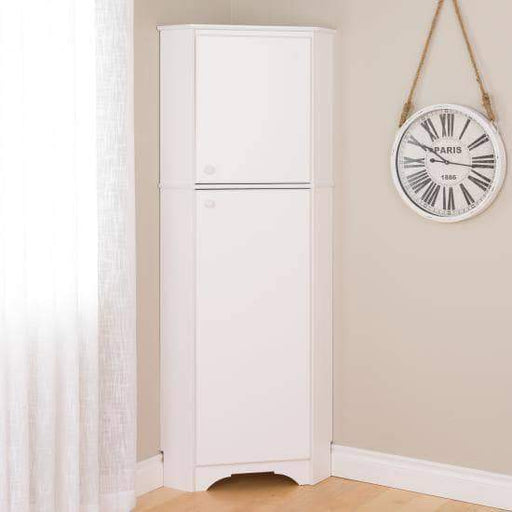 Prepac Elite Home Storage Collection White Elite Tall Two Door Corner Storage Cabinet - Multiple Options Available
