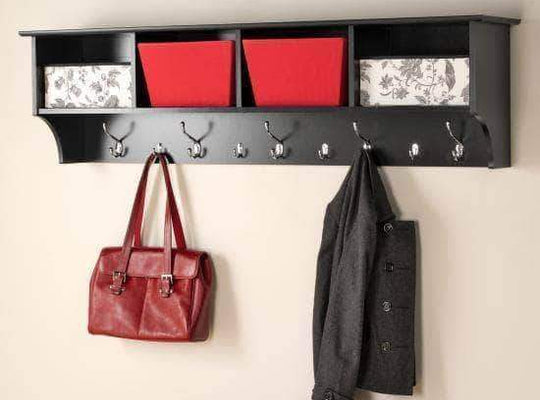 Prepac Entryway Black 60 inch Wide Hanging Entryway Shelf - Multiple Options Available