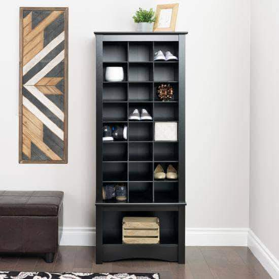 Prepac Entryway Black Tall Shoe Cubbie Cabinet - Multiple Options Available