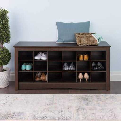 Prepac Entryway Espresso 18 Shoe Cubbie Bench - Multiple Options Available