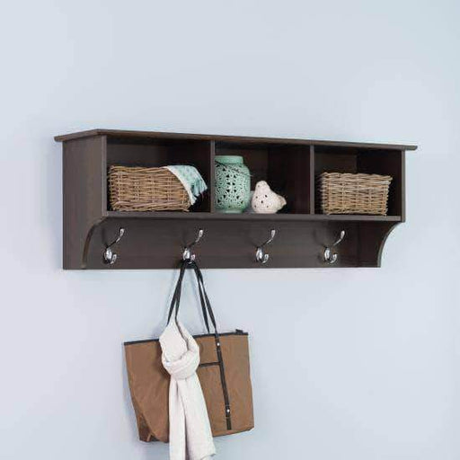 Prepac Entryway Espresso 48 Inch Wide Hanging Entryway Shelf - Multiple Options Available