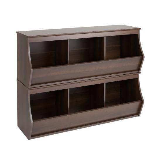 Prepac Entryway Espresso Fremont Stacked Six Bin Storage Cubby - Multiple Options Available