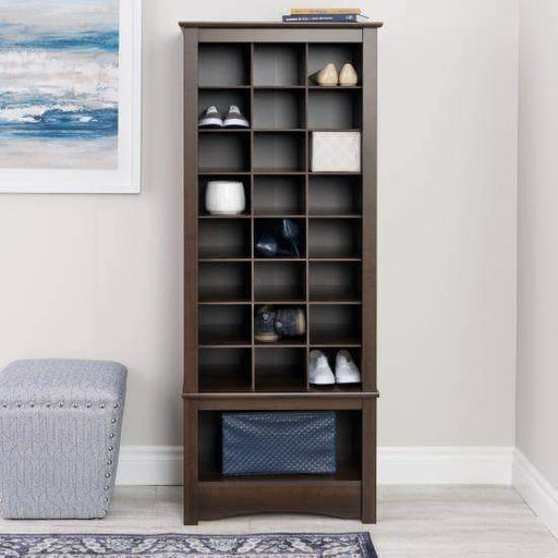 Prepac Entryway Espresso Tall Shoe Cubbie Cabinet - Multiple Options Available