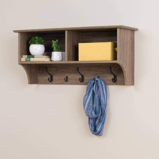 Prepac Entryway Grey 36 Inch Wide Hanging Entryway Shelf - Multiple Options Available