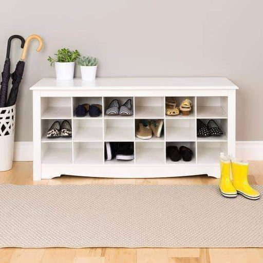 Prepac Entryway White 18 Shoe Cubbie Bench - Multiple Options Available