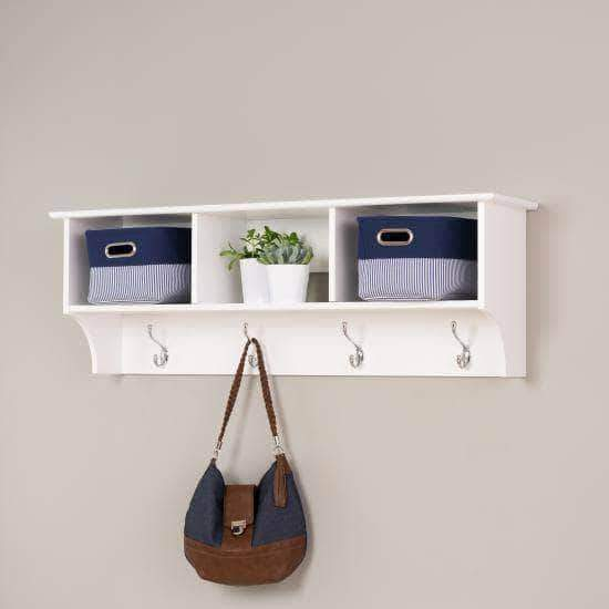 Prepac Entryway White 48 Inch Wide Hanging Entryway Shelf - Multiple Options Available