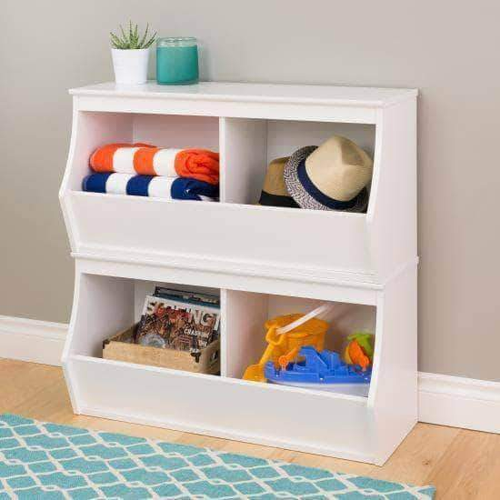 Prepac Entryway White Fremont Stacked Four Bin Storage Cubby - Multiple Options Available