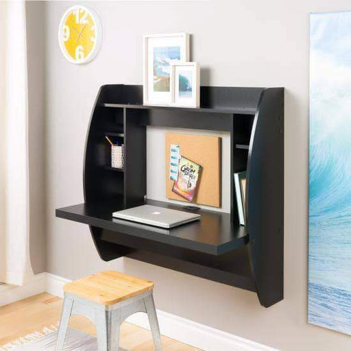 Prepac Home Office Black Floating Desk with Storage - Multiple Options Available
