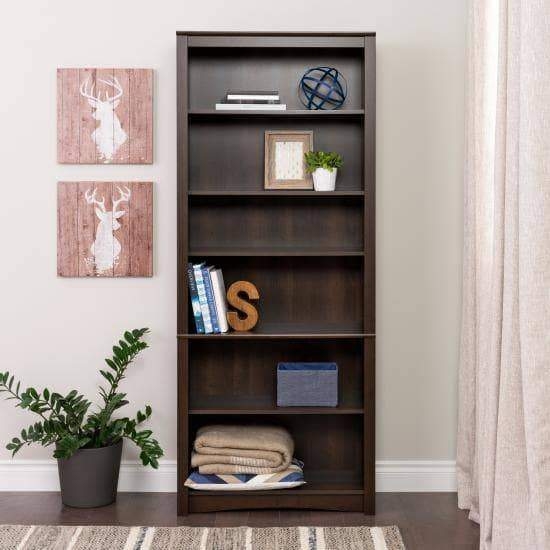 Prepac Home Office Espresso 6 Shelf Bookcase - Multiple Options Available