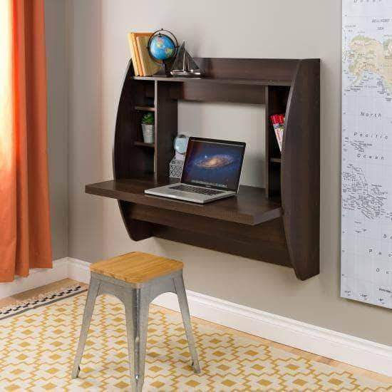 Prepac Home Office Espresso Floating Desk with Storage - Multiple Options Available