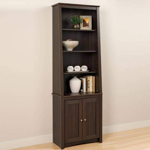 Prepac Home Office Espresso Tall Slant-Back Bookcase with 2 Shaker Doors