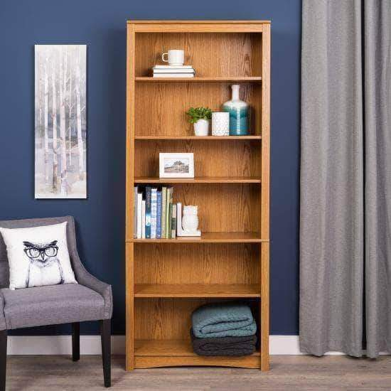 Prepac Home Office Oak 6 Shelf Bookcase - Multiple Options Available