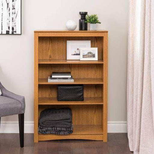 Prepac Home Office Oak Four Shelf Bookcase - Multiple Options Available