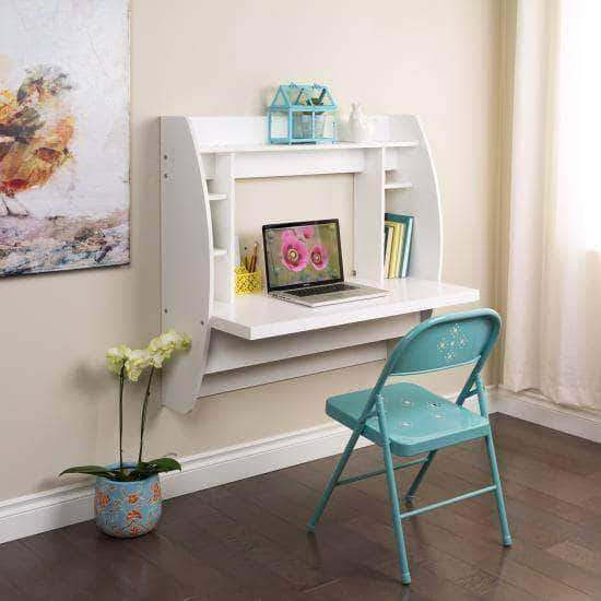 Prepac Home Office White Floating Desk with Storage - Multiple Options Available