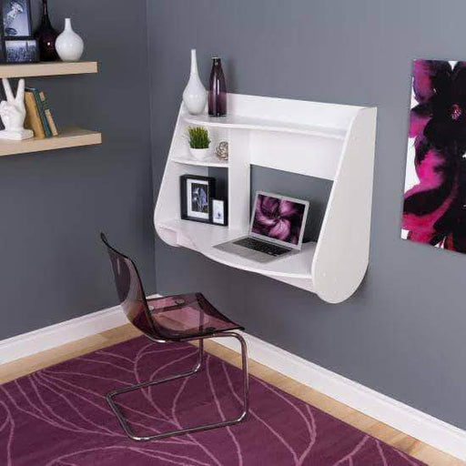 Prepac Home Office White Kurv Floating Desk - Multiple Options Available